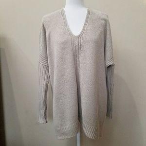 Vince Wool Oversized Tan V-Neck Sweater